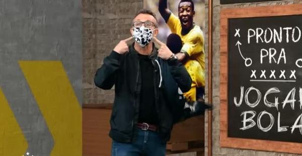 Neto revela que pai está com Covid e apresenta Donos da Bola de máscara: 'Não sou Pateta'