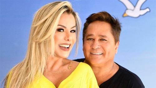 Leonardo comemora Bodas de Prata com Poliana Rocha
